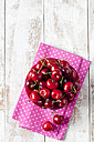 Bowl of cherries on pink napkin - CSF025985