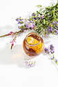 Glass of blossom honey with honeycomb and blossoms on white ground - CSF025978