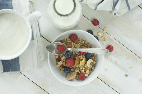 Breakfast with muesli and fruits, cappuchino and bottle of milk - ASF005665