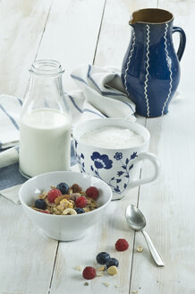 Breakfast with muesli and fruits, cappuchino and bottle of milk - ASF005664