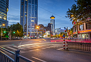 China, Shanghai, intersection at peoples square at twilight - NKF000345