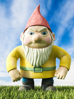 Angry garden gnome, 3D Rendering - AHUF000038