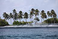 Maledives, South Male Atoll, surging billow arriving seashore on a stormy day - FAF000063