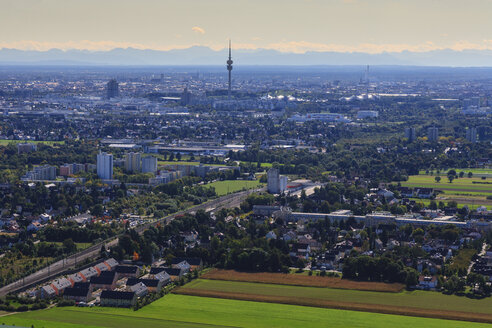 Germany, Bavaria, Munich, Cityscape with Alps in background - PEDF000060