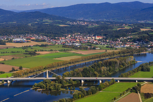 Germany, Bavaria, aerial view of Bavarian Forest, Deggendorf and Danube river - PEDF000065