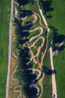 Germany, Bavaria, Lenggries, Brauneck, aerial view of a mountainbike track - PED000012
