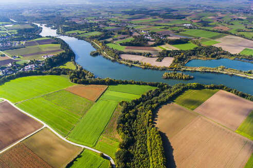 Germany, Lower Bavaria, Polding, Isar river, aerial view - PEDF000030