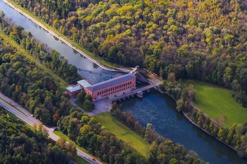 Germany, Bavaria, Landshut, Isar river, hydro plant Uppenborn, aerial view - PEDF000048