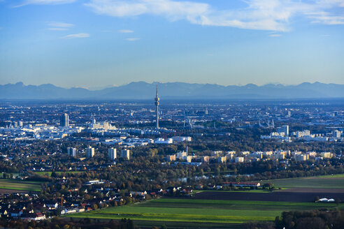 Germany, Bavaria, Munich, Cityscape with Alps in background - PEDF000119