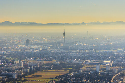 Germany, Bavaria, Munich, Cityscape with Alps in background - PEDF000134
