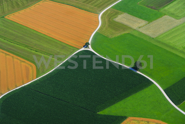 Germany, Bavaria, View of fields and country road, aerial view - PEDF000145