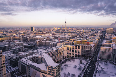 Germany, Berlin, Cityview with Leipziger Strasse in winter - ZMF000422