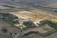 Germany, Quedlinburg, aerial view of quartz sand pit in the evening - PVCF000545