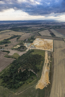 Germany, Quedlinburg, aerial view of quartz sand pit in the evening - PVCF000547