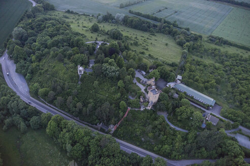 Germany, aerial view of Roseburg Castle in the evening - PVCF000552