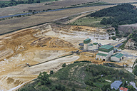 Germany, Quedlinburg, aerial view of quartz sand pit in the evening - PVCF000555