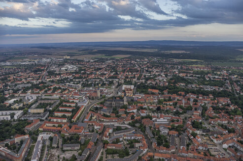 Germany, aerial view of Halberstadt in the evening - PVCF000563