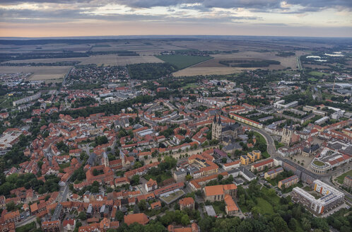 Germany, aerial view of Halberstadt at evening twilight - PVCF000565