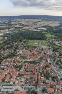 Germany, aerial view of Quedlinburg in the evening - PVCF000577