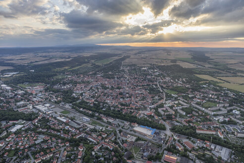 Germany, aerial view of Quedlinburg in the evening - PVCF000580