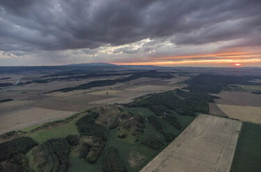 Germany, aerial view of Nothern Harz foreland with Harz low mountain range in the background - PVCF000583