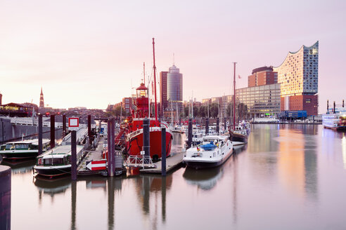 Germany, Hamburg, Elbphilharmonie and harbor in morning light - MSF004718