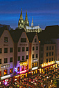 Germany, North Rhine-Westphalia, Cologne, Old town, View to Cologne Cathedral at night - MAD000499