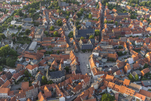 Germany, aerial view of Quedlinburg at evening twilight - PVCF000594