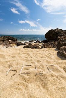 Greece, Chalkidiki, Word 'Help' on beach - VIF000363