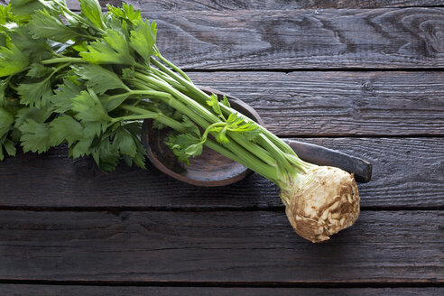 Celeriac and wooden spoon on dark wood - CSF026153