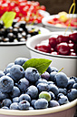 Bowl of blueberries and bowls of other fruits in the background - CSF026125