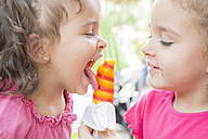 Two little sisters eating together a popsicle - ERLF000005