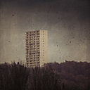 Germany, Wuppertal, view to high-rise residential building - DWI000577