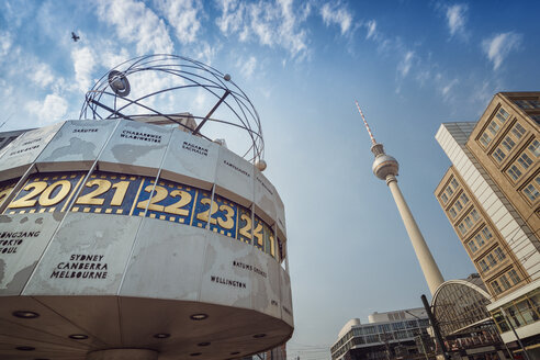 Germany, Berlin, Urania world clock and Berlin TV tower at Alexanderplatz - OPF000065