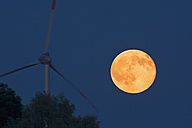Germany, rise of full moon with wind wheel in the foreground - UMF000791