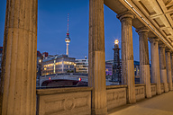 Germany, Berlin, Bridge over the Spree river with TV Tower and historic arcade - NK000350