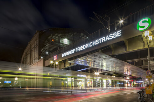 Germany, Berlin, Friedrichstrasse Train station at night - NK000364