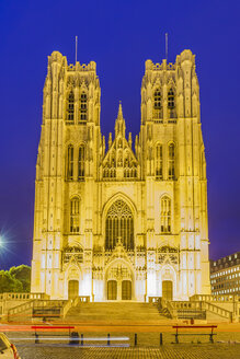 Belgium, Brussels, Cathedral of St Michael and St Gudula at night - WDF003192