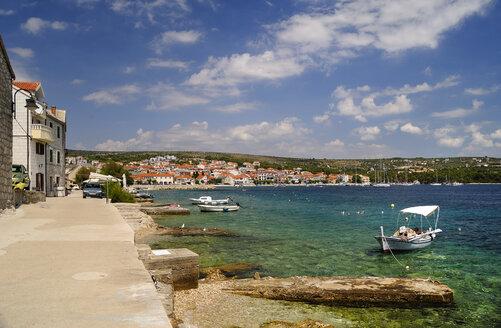 Croatia, Primosten, View of Adriatic Sea from beach promenade - BTF000346