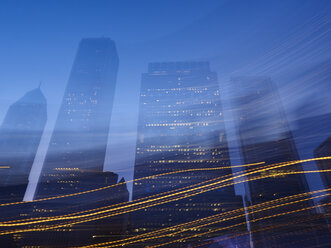 USA, Illinois, Chicago, High-rise buildings, blue hour, light reflexions - DISF002158