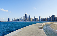 USA, Illinois, Chicago, North Avenue Beach, Lake Michigan, Skyline - DISF002167