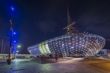 Germany, Bremerhaven, Klimahaus at night - NK000382
