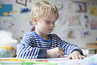 Portrait of blond little boy painting with crayon - RBF002996