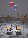 Red and blue ballon tied to backrests of two chairs, 3D Rendering - UWF000612