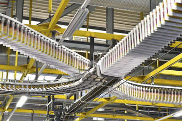 Conveyor belts with newspapers in a printing shop - LYF000464
