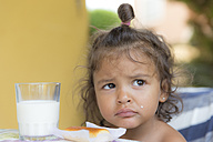Portrait of unhappy little girl with breakfast - ERLF000028