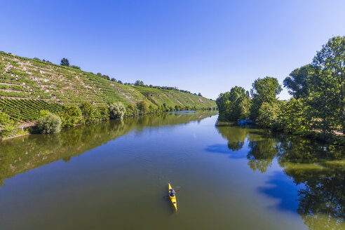 Germany, woman kayaking on Neckar - WDF003253