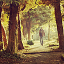 Jumping man on forest path in the evening light - DWIF000584