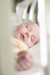Portrait of sleeping baby girl in a cot - DEGF000519