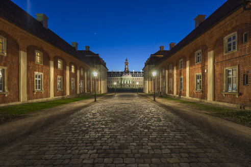 Germany, Wermsdorf, view to Hubertusburg Castle at blue hour - PVC000654